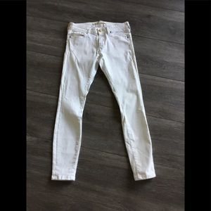 Zara Woman Off White Crop Skinny Jeans